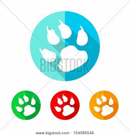 Set of colored footprint icons. White footprint icon with long shadow. Vector illustration. Footprint sign on a the round button.