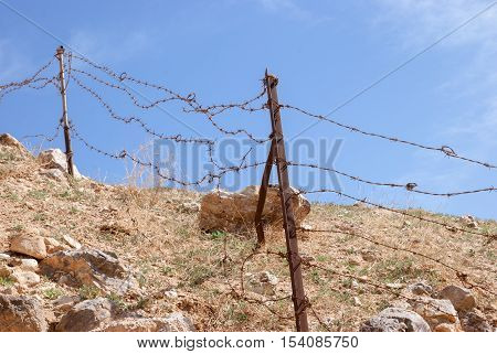Barbed Wire Fence in the Kidron valley, Israel
