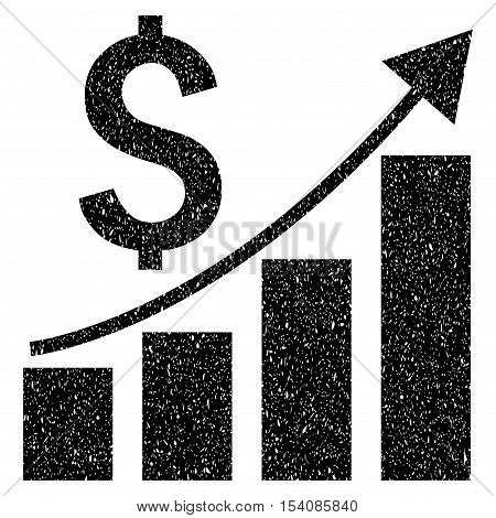 Financial Growing Bar Chart Trend grainy textured icon for overlay watermark stamps. Flat symbol with dirty texture. Dotted vector black ink rubber seal stamp with grunge design on a white background.