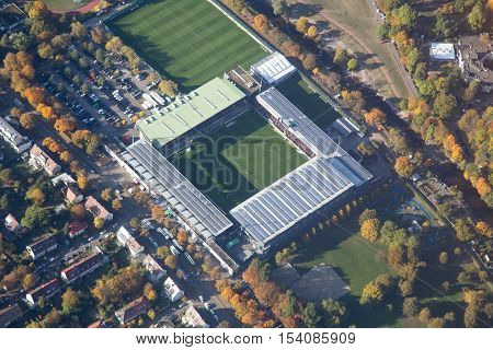 Freiburg, Germany - October 22, 2016: Aerial view of the soccer stadium on a match day