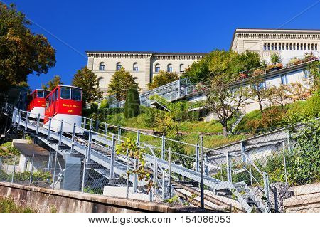 BERN SWITZERLAND - September 25 2016 - Marzili Bern bahn in the old city center of Bern town. Bern is capital of Switzerland and fourth most populous city in Switzerland.