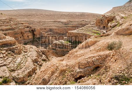 Kidron Valley, a river canyon in Judean desert. Israel