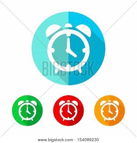 Set of colored alarm clock icons. White alarm clock icon with long shadow. Vector illustration. Alarm clock sign on a the round button.