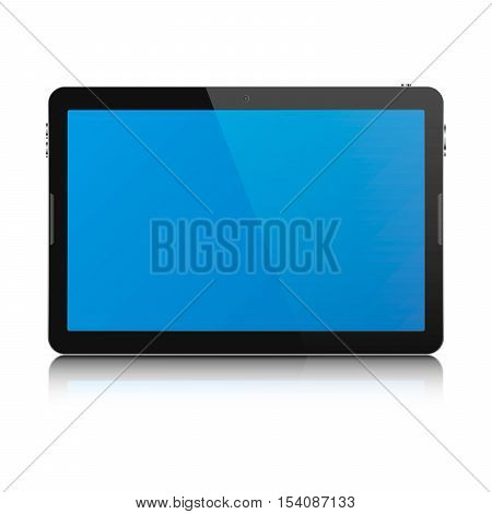 Modern touch screen tablet computer isolated on white background. Tablet computer with blank blue screen and reflection. Vector illustration.