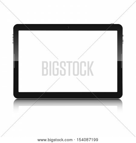 Modern touch screen tablet computer isolated on white background. Tablet computer with blank white screen and reflection. Vector illustration.