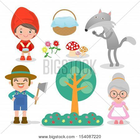 Set of characters from Little Red Riding Hood fairy tale on white background, Vector Illustration
