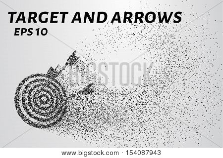 Target and arrows of particles. The target and arrows are made up of small circles and dots.