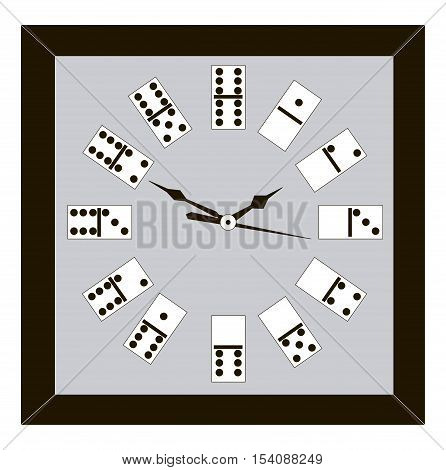 Vector illustration of creative clock with domino
