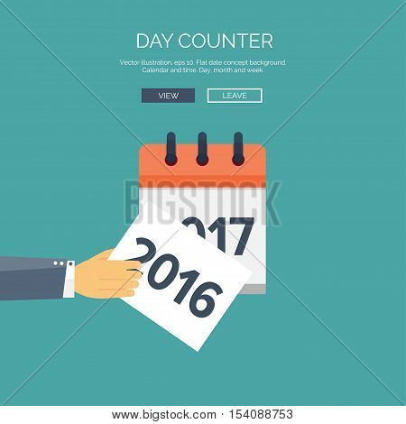 Flat calendar icon. Date and time background. New year. 2017. Christmas. December.