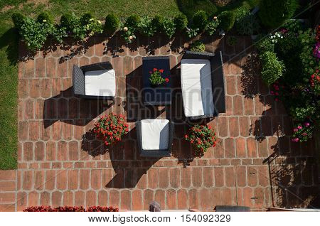 Garden Set With Flowers And Plants
