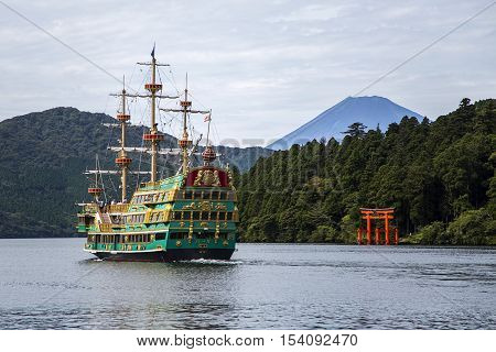 HAKONE, JAPAN - OCTOBER 4, 2016: Ship Vasa at Hakone sightseeing tour on lake Ashi in Japan. Hakone is one of the most popular destinations of Japanese and international tourists