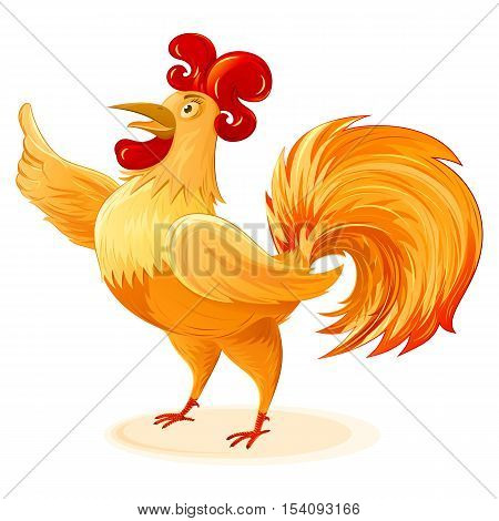 Rooster for New Year 2017; Character a fun colorful Cockerel; Vector cartoon drawing Eps8