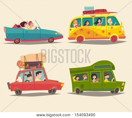 Traveling by car Cabriolet Van and Trailer with happy people. Summer vacation tourism family trip. Cartoon character family cartoon hippie. Camping trailer. Isolated colorful illustration isolated vector set