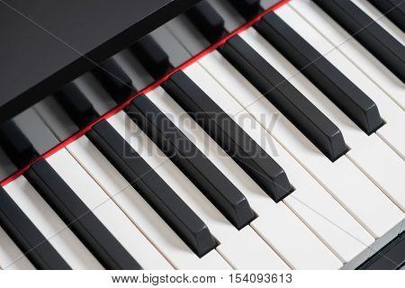 Black piano keys front view, closeup background .