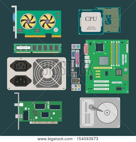 Parts of Computer. Video Card CPU HDD RAM Ethernet card Power Supply on the dark green background. Vector illustration