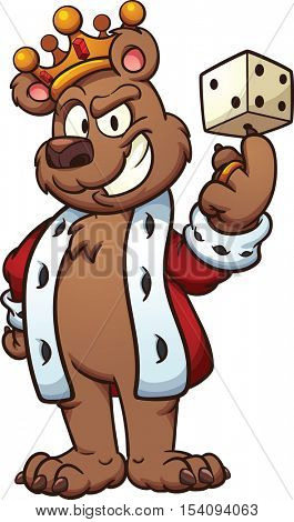 King bear balancing a dice on its finger. Vector clip art illustration with simple gradients. Bear, mouth and dice on separate layers.