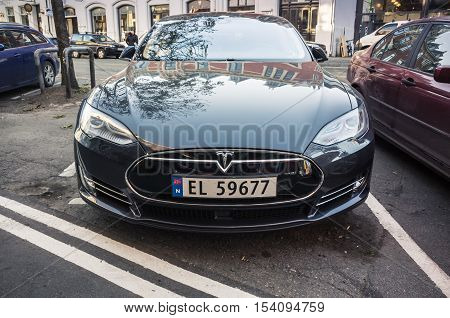 Black Tesla Model S, Close-up Front View