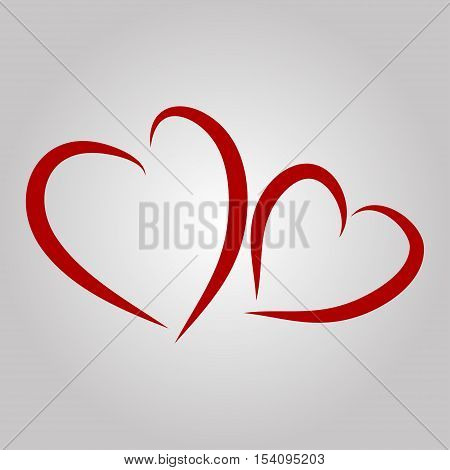 Vector hearts silhouettes. Two red hearts - vector