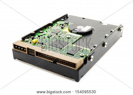 Hard disk on a white background closeup