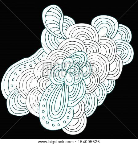 Grey and blue uncolored abstract pattern with leaves and flowers. Doodle. Hand drawn zentagles. Coloring book.
