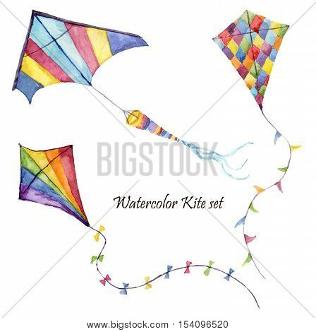 Watercolor checkerboard and striped kites air set. Hand drawn vintage kite with retro design. Illustrations isolated on white background.