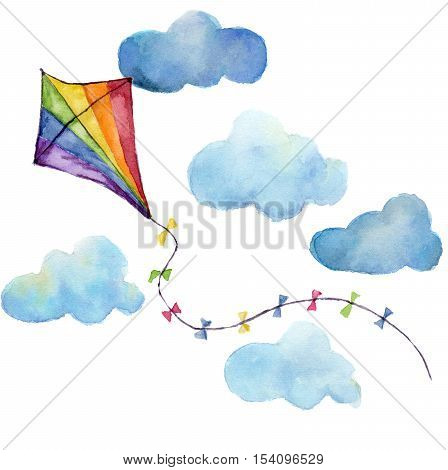 Watercolor striped kite air set. Hand drawn vintage kite with clouds and retro design. Illustrations isolated on white background.