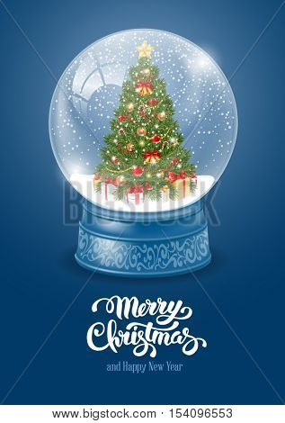 Christmas Greeting with Christmas Snow Globe. Magic Ball with Snow, Decorated Christmas Tree and Flying Snowflakes for your Christmas and New Year Designs. Realistic Vector Stock Illustration.