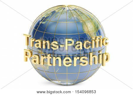 Trans-Pacific Partnership concept 3D rendering isolated on white background