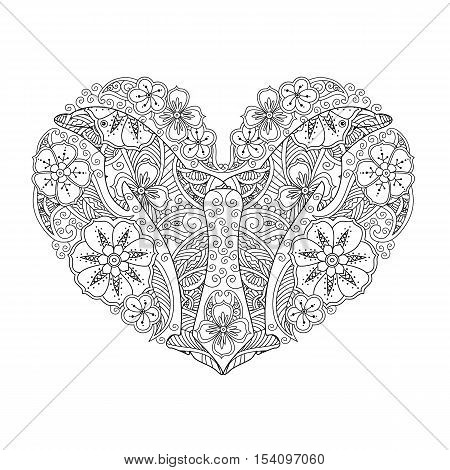 Coloring page with dolphin in heart shape isolated on white background. Coloring book for adult and older children. Editable vector illustration.