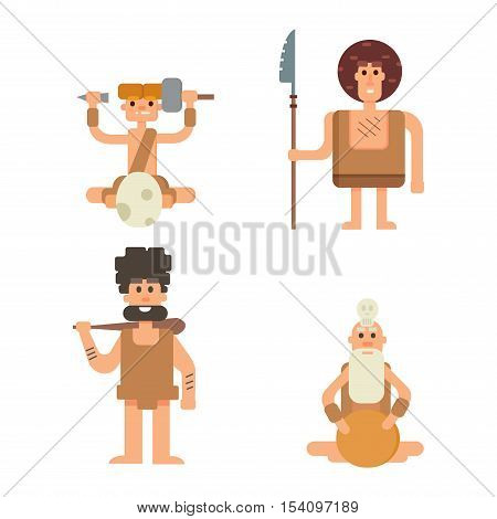 Caveman primitive stone age cartoon neanderthal people. Caveman cartoon action neanderthal evolution vector. Stone age people vector