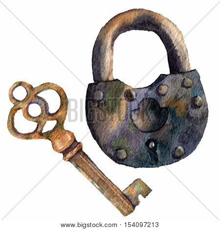 Watercolor retro key and padlock. Hand painted vintage illustration isolated on white background. For design, prints or background.
