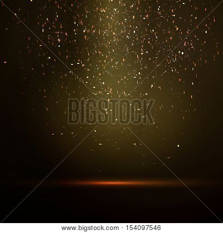 Vector gold glitter particles background, luxury greeting card. Sparkling texture. Star dust sparks in explosion on dark background with spotlights.