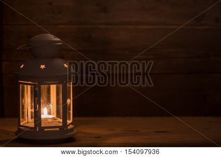 Lantern. Christmas decorations with lantern. Christmas greeting card.
