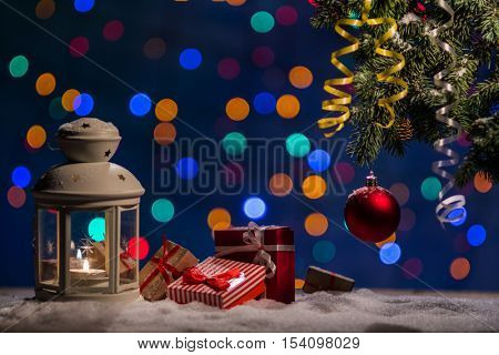 Christmas background with bokeh lighten hotspot