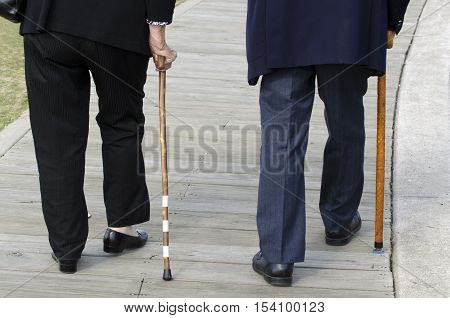Bottom half of an elderly couple walking with a wood cane sticks wearing a dark suits.