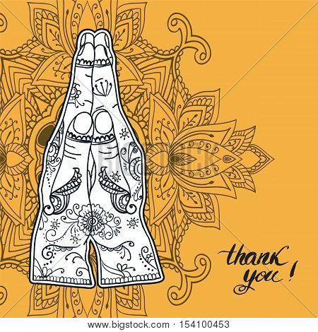 Elegant Ornaments Lace Mandala. Namaste mudra. Ancient decorative ornament pattern. Hand-drawn Islam, Arabic, Indian, ottoman motifs, greeting cards, wedding invitation, creative template, vector