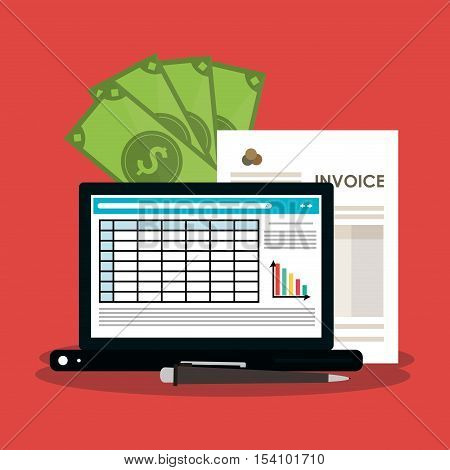 Invoice document bills and laptop icon. Business finanace payment and tax theme. Colorful design. Vector illustration