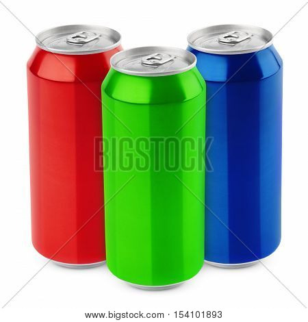Group of aluminum 500 ml beer cans isolated on white background with clipping path