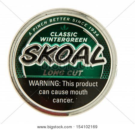 Winneconne WI - 29 October 2016: Can of Skoal chewing tobacco on an isolated background.