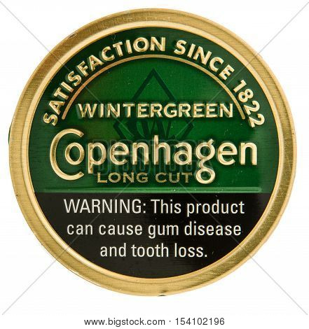 Winneconne WI - 29 October 2016: Can of Copenhagen chewing tobacco on an isolated background.