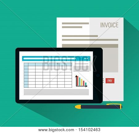 Invoice document and tablet icon. Business finanace payment and tax theme. Colorful design. Vector illustration