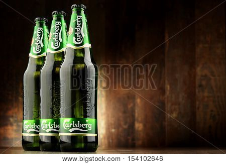 POZNAN POLAND - OCT 28 2016: Carlsberg globaly distributed pale lager beer produced by Carlsberg Group a Danish brewing company founded in 1847 with headquarters located in Copenhagen Denmark