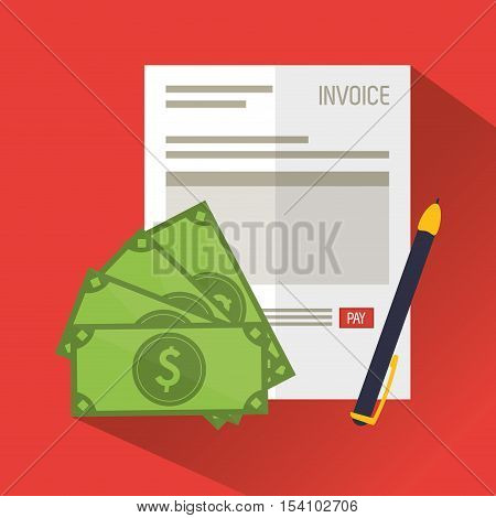 Invoice document bills and pen icon. Business finanace payment and tax theme. Colorful design. Vector illustration