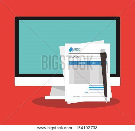 Invoice document and computer icon. Business finanace payment and tax theme. Colorful design. Vector illustration
