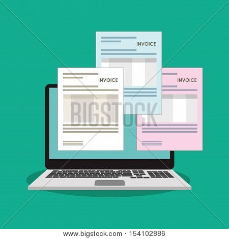 Invoice document and laptop icon. Business finanace payment and tax theme. Colorful design. Vector illustration