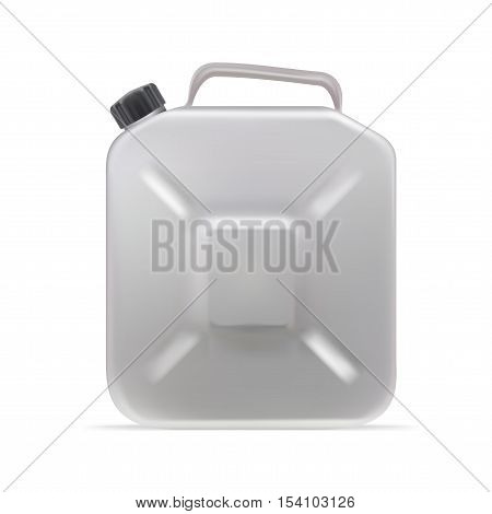 Realistic Clear Blank Jerrycan Canister Gallon Oil Detergent Abstergent. EPS10 Vector