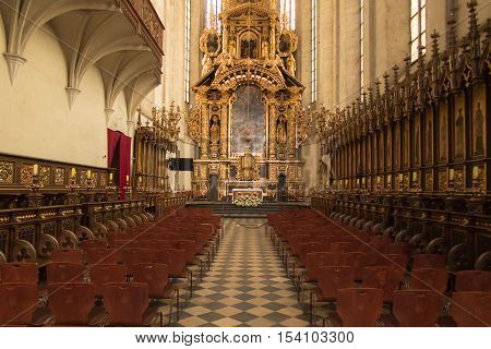 Krakow Poland - October 2 2016: The main altar in the church of St. Catherine in Krakow