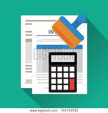 Invoice document and calculator icon. Business finanace payment and tax theme. Colorful design. Vector illustration