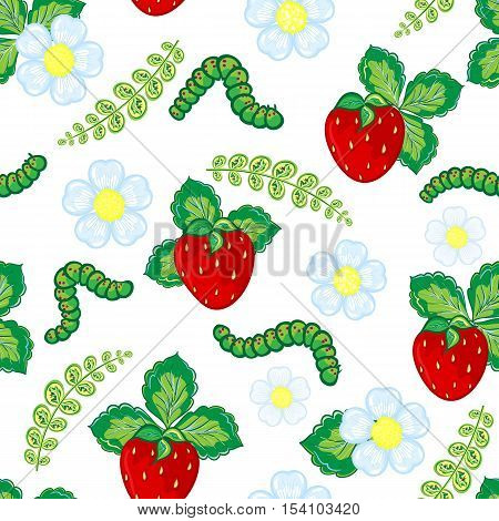 Funny seamless vector pattern with strawberry, caterpillar and flowers and leaves. Berry isolated on white background