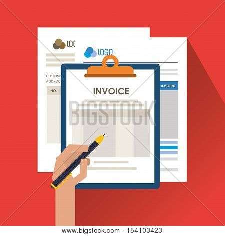 Invoice document and pen icon. Business finanace payment and tax theme. Colorful design. Vector illustration
